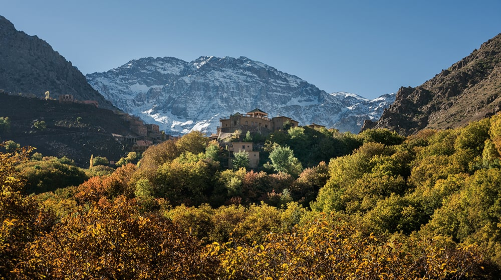 Kasbah du Toubkal nestled in the Imlil Valley